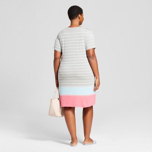 9a197fc29a7 Women s Plus Size Striped T-Shirt Dress - Ava   Viv™ Gray   Target