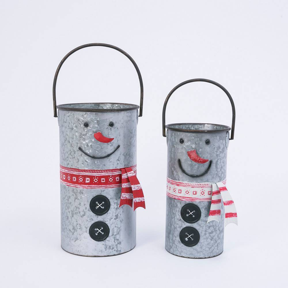 Image of 2ct Assorted Nesting Metal Snowman Buckets Decorative Figurine Set - Gerson International