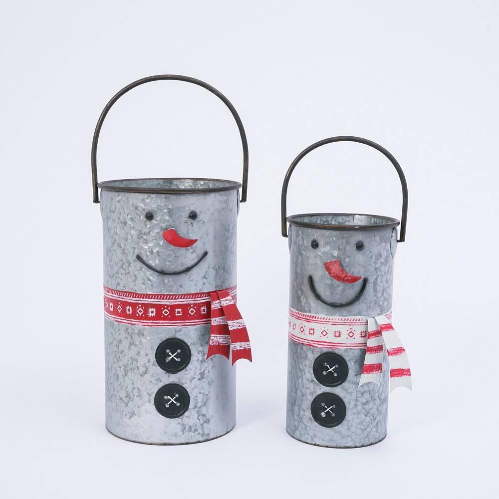 Image of 2ct Assorted Nesting Metal Snowman Buckets Decorative Figurine Set - Gerson International, Silver