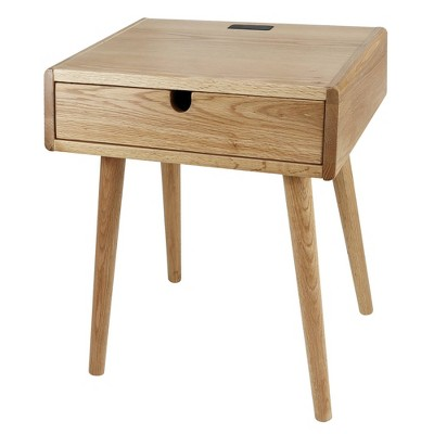 Nightstand with USB Ports Natural Oak - Flora Home