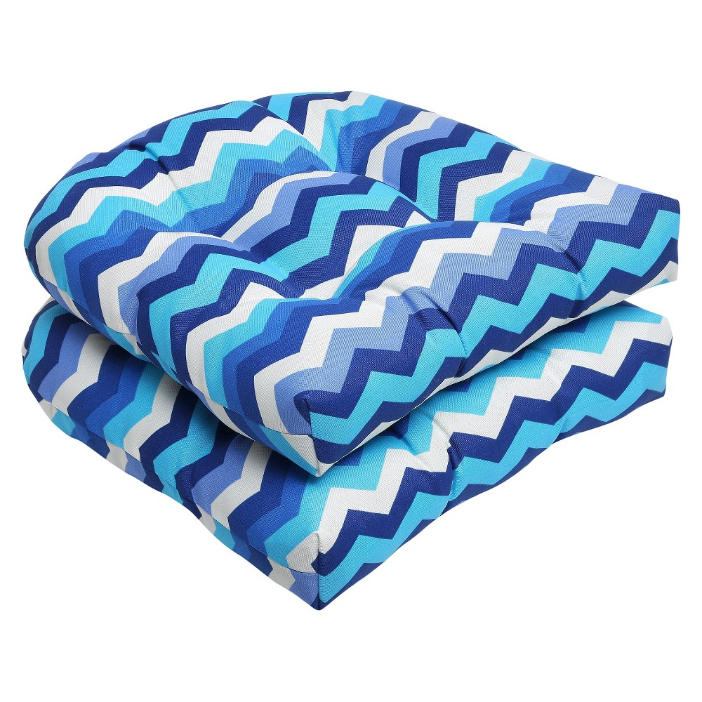 Outdoor Pillow Perfect 2pc Cushion Set - Blue/White, Blue/Beige