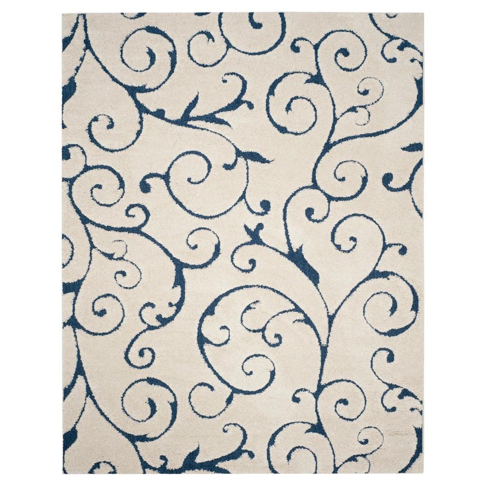Cream/Blue (Ivory/Blue) Abstract Shag/Flokati Loomed Area Rug - (8'6X12') - Safavieh