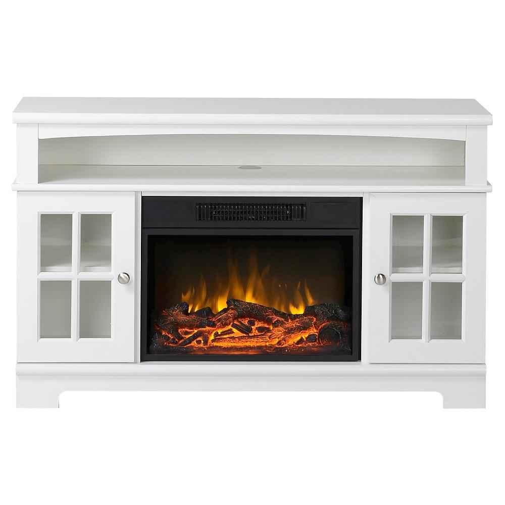 Zarate 44.5 in. Wide Media Fireplace in White