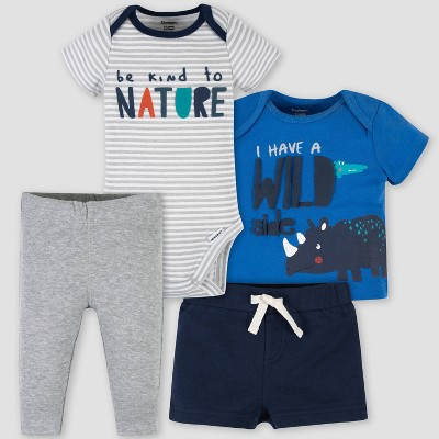Gerber Baby Boys' 4pc 'Wild Side' Top and Bottom Set - Gray/Blue 6-9M