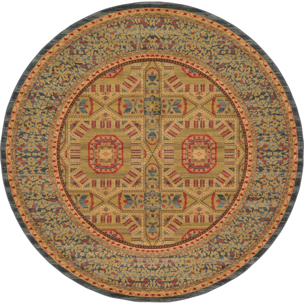 8 39 Round Lincoln Palace Rug Blue Tan Unique Loom