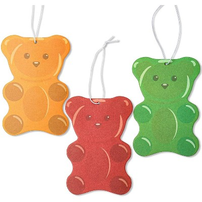 Zodaca 3 Pack Gummy Bear Shaped Car Air Freshener in 3 Scents