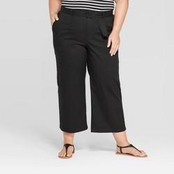 Women's Plus Size Belted Cropped Wide Leg Pants - Ava & Viv™