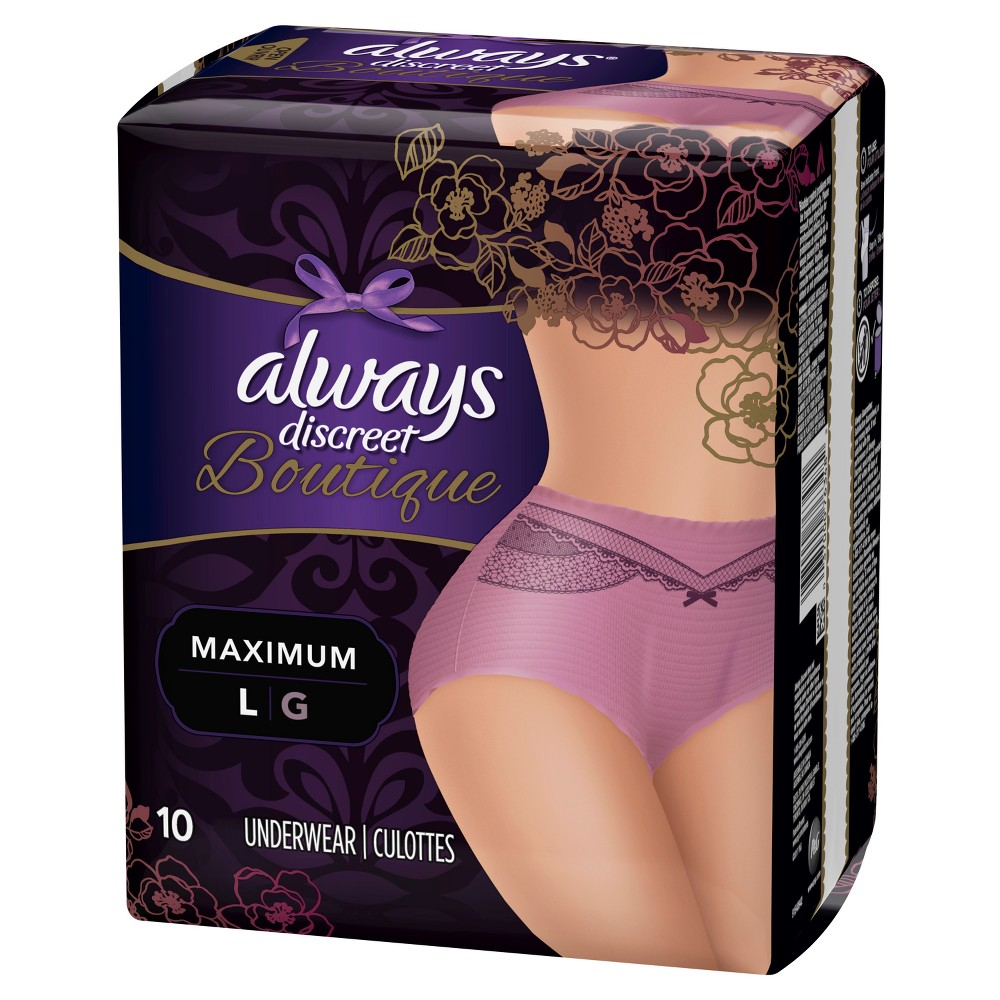 Always Discreet Boutique Incontinence Underwear for Women - Maximum Absorbency - Mauve (Pink) - Large - 10ct Discover the secret to maximum incontinence protection, that's actually pretty, with Always Discreet Boutique Incontinence Underwear for Women. The secret? Hidden inside is a super absorbent core that turns liquid to gel to absorb even your heaviest leaks. The curve-hugging, feminine design that defines your silhouette is made of silky-soft fabric with delicate, lacy prints, so it looks, fits, and feels like your real underwear. So you can feel protected and pretty, unlike adult diapers. It's maximum protection, you can depend on, made beautiful. Color: Mauve. Gender: Female.