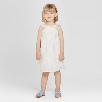 Toddler Girls' Shirt Dress - Cat & Jack™ White Opaque 12M