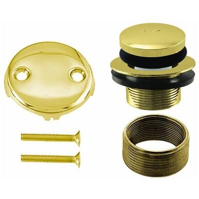 Westbrass 1.5 Inch Diameter Round Universal Tiptoe Drain Bathtub Trim Set with 2-Hole Faceplate, Polished Brass