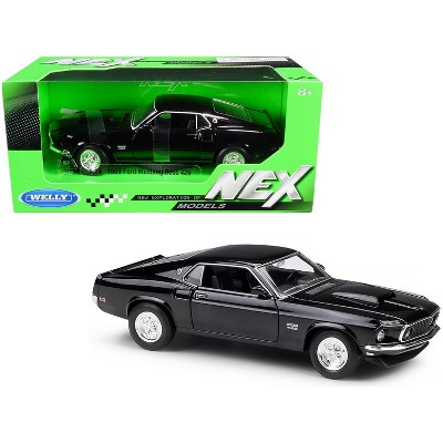 """1969 Ford Mustang Boss 429 Black """"NEX Models"""" 1/24 Diecast Model Car by Welly"""