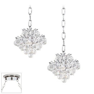 Vienna Full Spectrum Chrome Mini Swag Pendant Chandelier Crystal 2-Light Fixture for Dining Room Foyer Kitchen Island Entryway