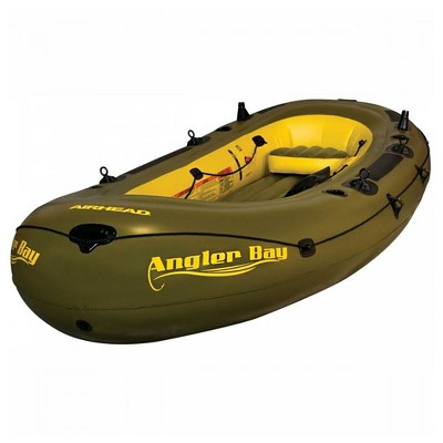 Airhead Angler Bay 6 Person Inflatable Fishing Boat Raft Float, Green