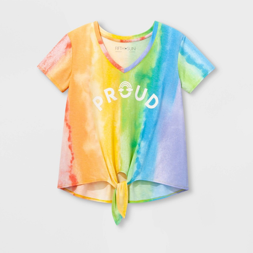 Pride Short Sleeve Gender Inclusive Proud Tie Front Cropped T-Shirt - 2XL, Multicolored