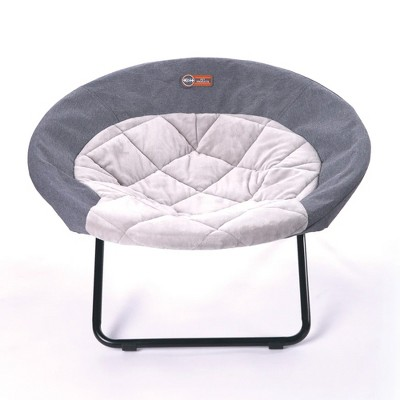 K&H Pet Products Large Sized Pet Elevated Dish Chair Cozy Comfy Furniture Cot Dog Bed with Machine Washable Cover, Classy Gray