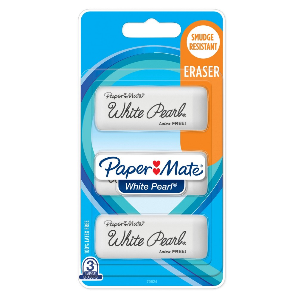 Image of 3ct Clutch Erasers White Pearl - PaperMate