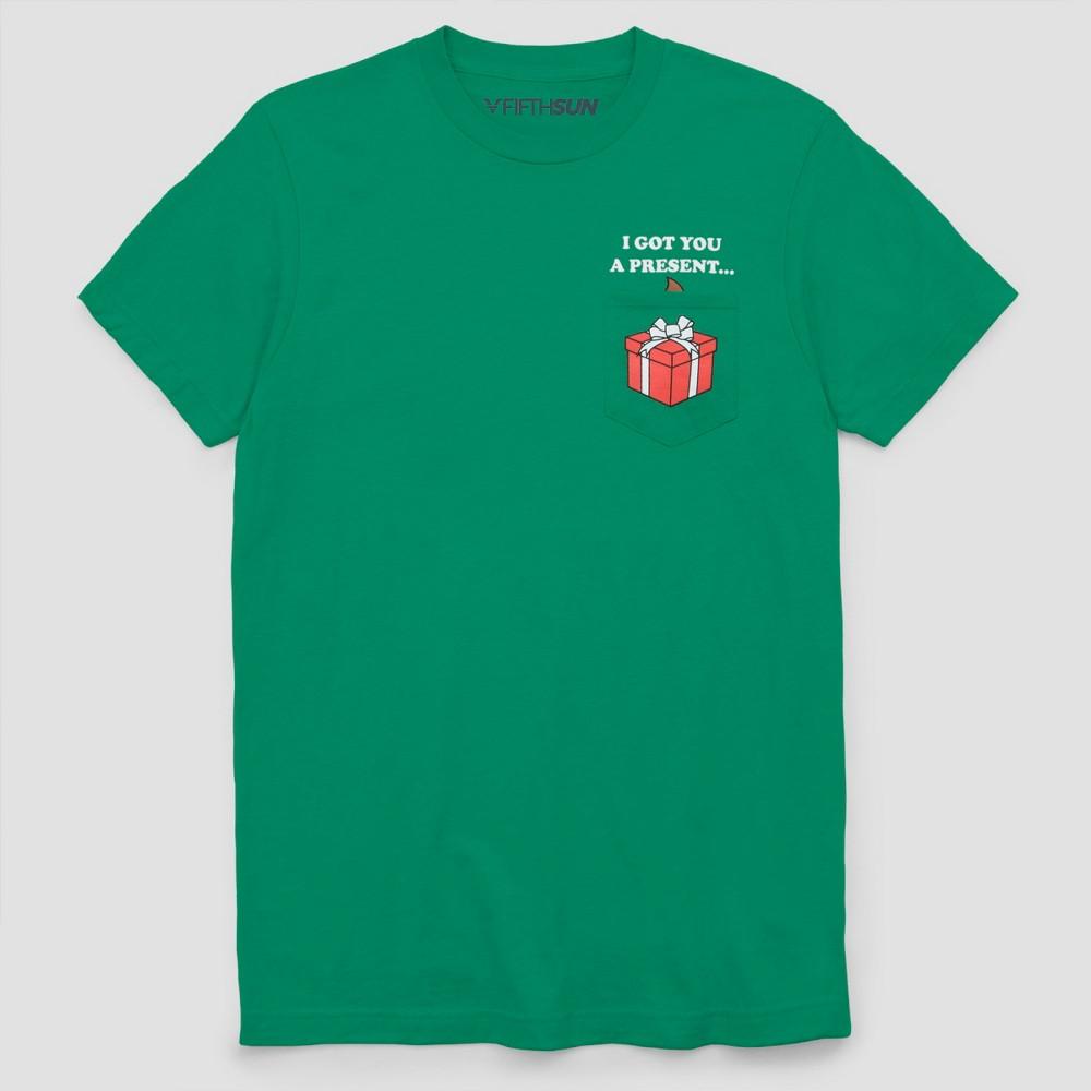 Men's Big & Tall Short Sleeve Ugly Holiday Emoji Pocket T-Shirt - Kelly Green 3XB