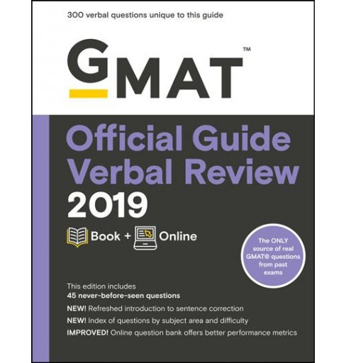 GMAT Official Guide Verbal Review 2019 : Includes Online Content -  PAP/PSC (Paperback) - image 1 of 1