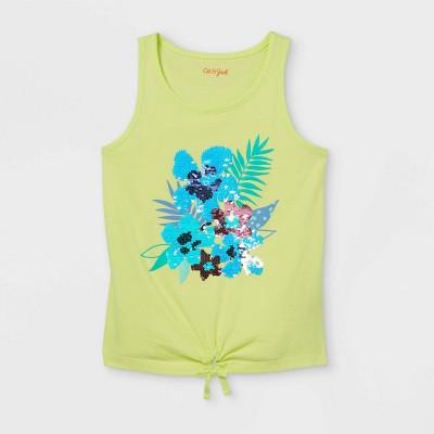 Girls' Tropical Flowers Flip Sequin Tank Top - Cat & Jack™ Yellow