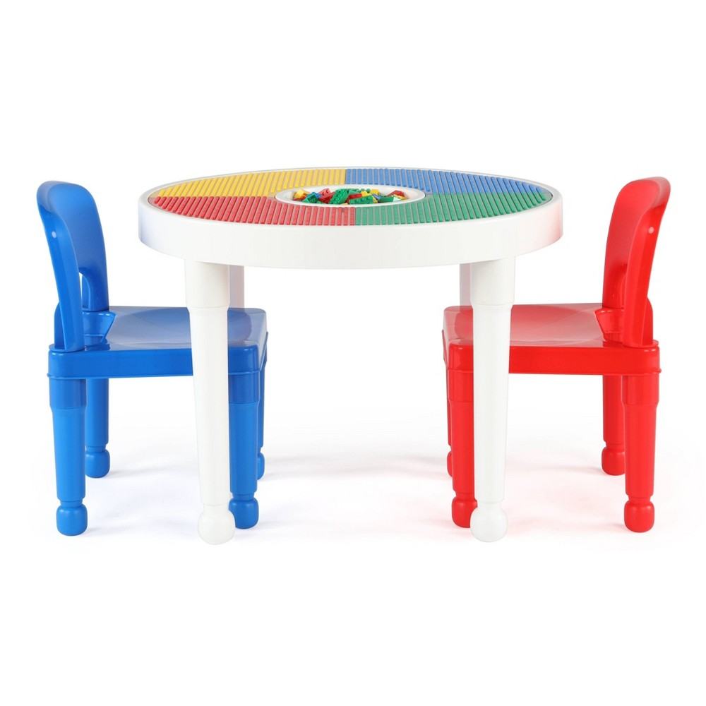Image of 3pc Round Plastic Construction Table With 2 Chairs & Cover White - Humble Crew