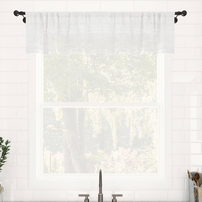 "14""x52"" Textured Slub Striped Anti-Dust Linen Blend Sheer Cafe Window Valance - Clean Window"