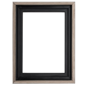 """Creative Mark Illusions Floater Frame for 3/4"""" Depth Stretched Canvas Paintings & Artwork - [Black with Antique Silver]"""