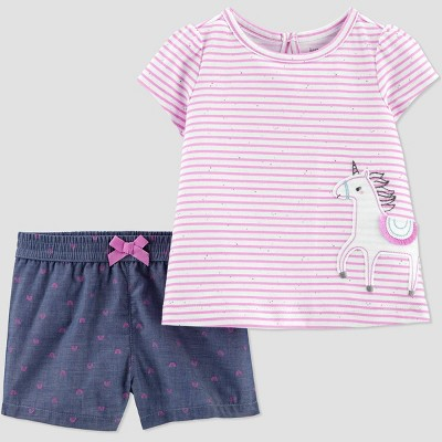 Baby Girls' 2pc Unicorn Top & Bottom Set - Just One You® made by carter's Purple 9M