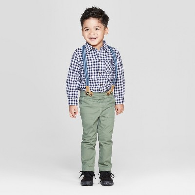 Toddler Boys' 3pc Gingham Shirt and Chinos Suspenders Set - Cat & Jack™ Blue/Olive 3T