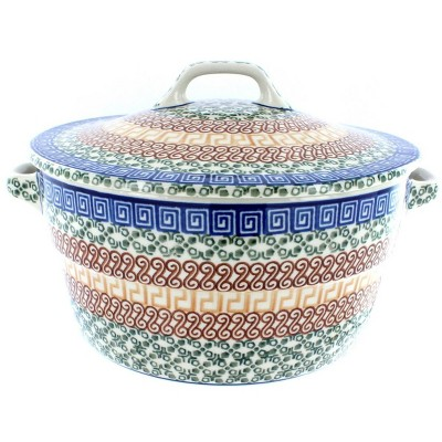 Blue Rose Polish Pottery Athena Covered Round Baker