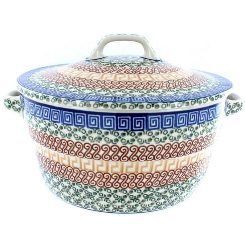 Blue Rose Polish Pottery Athena Covered Round Baker - image 1 of 2