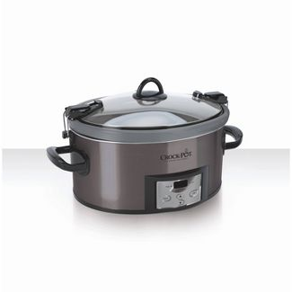 Crock Pot 7qt Cook & Carry Programmable Easy-Clean Slow Cooker - Premium Black Stainless Steel