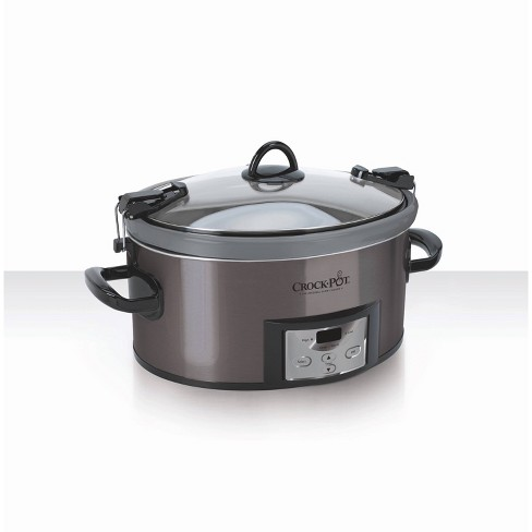 Crock Pot 7qt Cook & Carry Programmable Slow Cooker with Easy Clean - Premium Black Stainless Steel - image 1 of 2