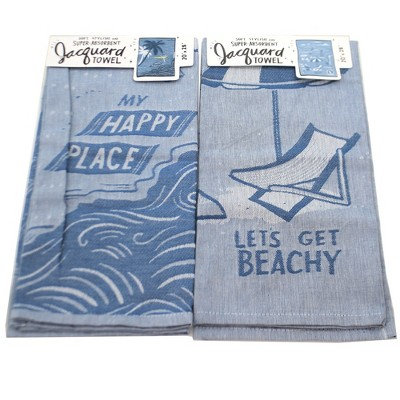 "Tabletop 28.0"" Beach Life Dish Towels Set/2 100% Cotton Clean Up Kitchen Primitives By Kathy  -  Kitchen Towel"