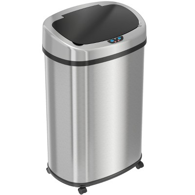 iTouchless Rolling Sensor Kitchen Trash Can with Wheels and AbsorbX Odor Filter Oval 13 Gallon Silver Stainless Steel