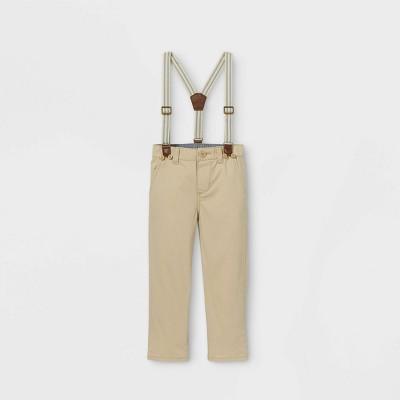 OshKosh B'gosh Toddler Boys' Woven Suspender Chino Pants - Khaki