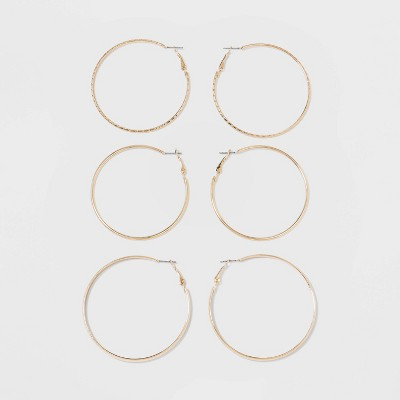 Thick, Thin and Textured Hoop Earring Set 3ct - Wild Fable™