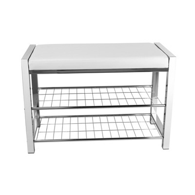 Danya B. Leatherette Storage Entryway Bench with Chrome Frame - White