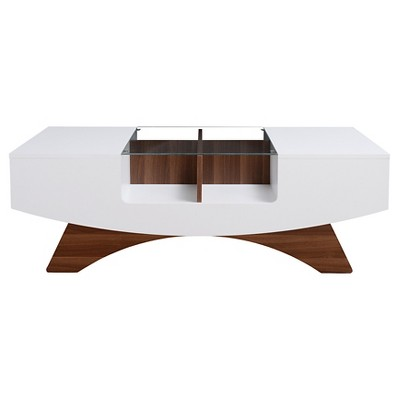 Kasha Curved Multi-storage Coffee Table White/Light Walnut - HOMES: Inside + Out
