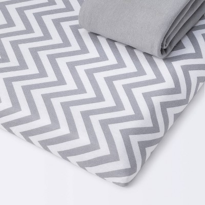 Fitted Playyard Jersey Sheet - Cloud Island™ Chevron/Gray 2pk