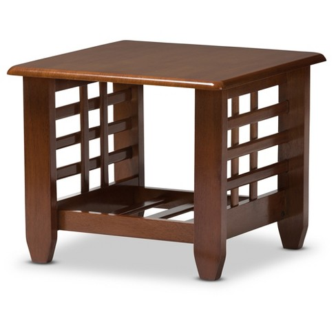 Larissa Modern Classic Mission Style Living Room Occasional End Table - Cherry Brown - Baxton Studio - image 1 of 4