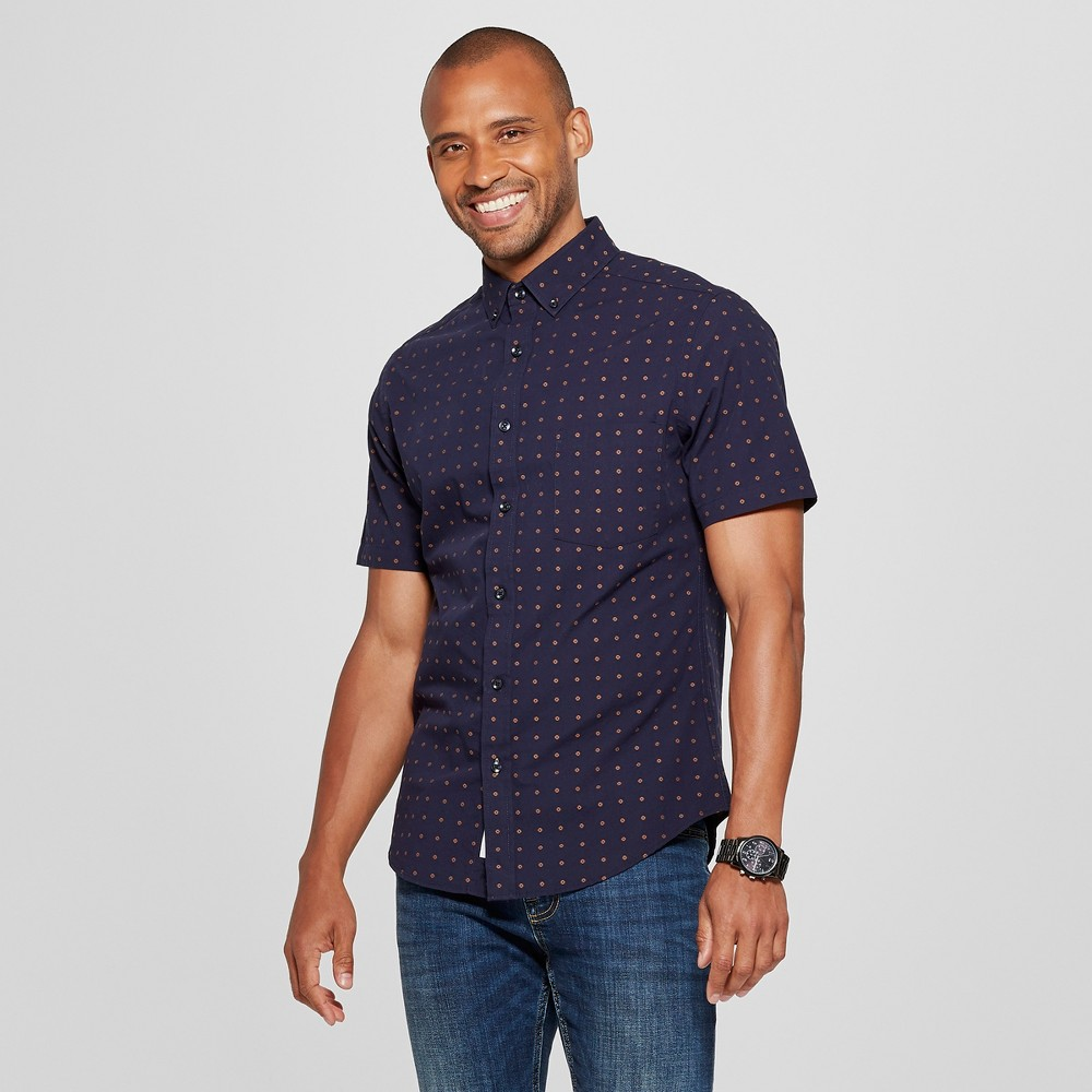 Men's Slim Fit Northrop Short Sleeve Button-Down Shirt - Goodfellow & Co Stargaze Navy L, Blue