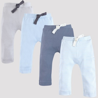 Touched by Nature Baby 4pk Harem Organic Cotton Pull-On Pants - Light Blue/Gray 9M