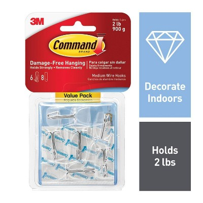 3M Command 6pk Clear Medium Wire Toggle Hooks with Clear Strips