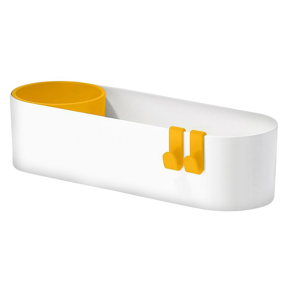 Image of Sabi Caddy Storage Caddy with Movable Cup and 2 Hooks - Yellow, White Yellow