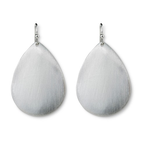 Teardrop Disc Earring - Matte Silver - image 1 of 2