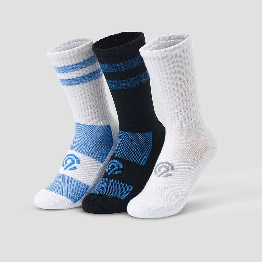 Boys' 3pk Crew Athletic Socks - C9 Champion White M