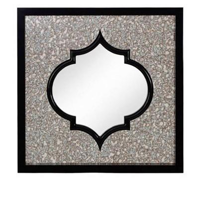 Majestic Mirror Moroccan Square Black Beveled Glass Decorative Wall Mirror