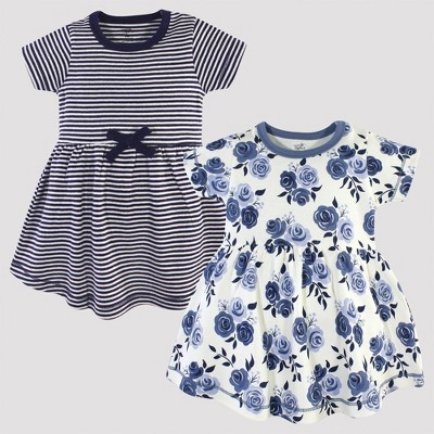 Touched by Nature Baby Girls' 2pk Stripped & Floral Organic Cotton Dress - Navy/White 0-3M