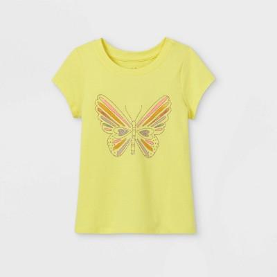 Toddler Girls' Glitter Butterfly Short Sleeve T-Shirt - Cat & Jack™ Yellow