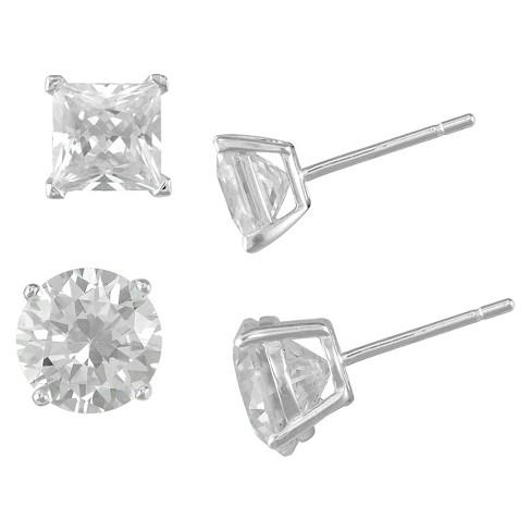 Women's Sterling Silver Square, Clear Crystal Stud and Round Clear Crystal Stud Set (4mm/5mm) - image 1 of 1